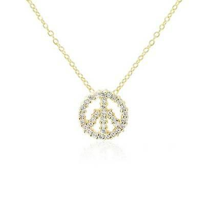 Bling Jewelry Pave CZ Gold Plated Peace Sign Pendant Necklac