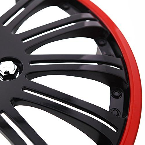 Pilot Universal Cobra Black and Red Wheel Covers - of