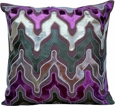 purple decorative pillow covers leather fabric 16x16