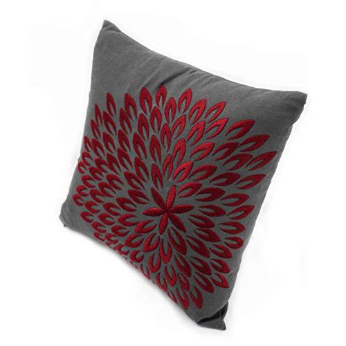 KainKain Red Throw Pillow Grey Cotton Embroider Couch Modern Decor