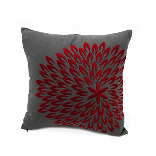 red flower embroidery throw pillow