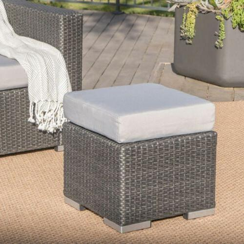 Santa Rosa Outdoor Inch Wicker Ottoman Seat with Water Resistant