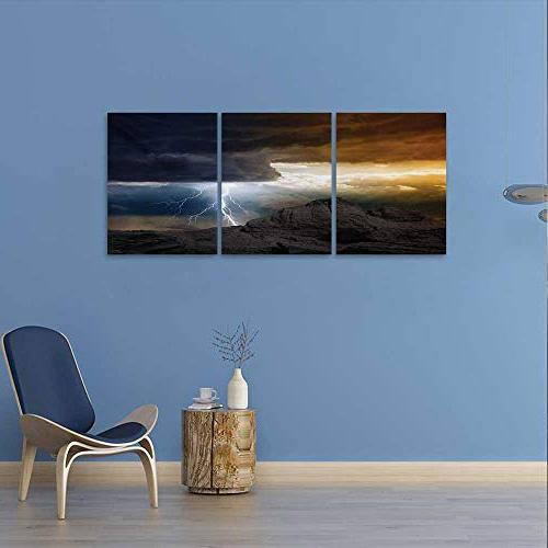 Nature Wall Rays from Clouds Hitting Down Mountain Print Print Canvas for Grey