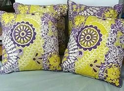 Lot of four throw pillows 16X16 inch yellow and purple new X