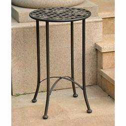 MANDALAY IRON PATIO ROUND TABLE in an ANTIQUE BLACK
