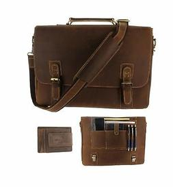 Viosi Mens RFID Leather Messenger Bag | 16 Inch Laptop Brief