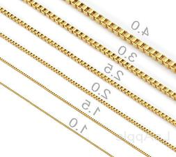 Mens Womens Gold plated chain 316 Stainless Steel Box Chain