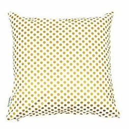 Bold Bedding Metallic Gold Dots Square 16 inch Throw Pillow