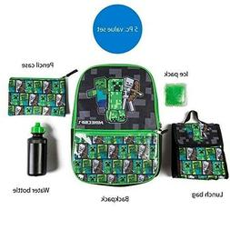 Minecraft Backpack with Lunch Box for boy girl kids 16 inch