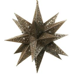 Moravian Hanging Tin Star Light - Flower Cut with Marbles