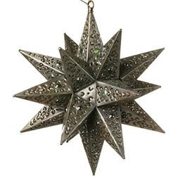 16 Inch Moravian Hanging Tin Star Light - Flower Cut with Ma