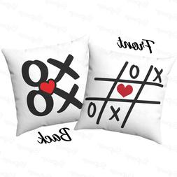 NEW Tic Tac Toe Red heart XOXO decorative Square cushion thr