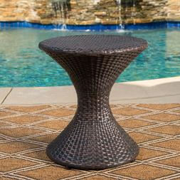 Outdoor 16 inch Wicker Hourglass Side Table, Multibrown Balc