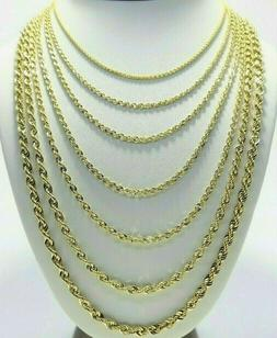 Real 10K Yellow Gold 2mm - 6mm Diamond Cut Rope Chain Neckla