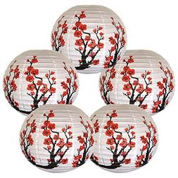 Just Artifacts Set of 5 Red Sakura  Flowers White Color Chin