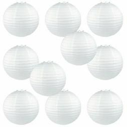 """WYZworks Round Paper Lanterns 10 Pack White 14"""" - with 8"""" 10"""