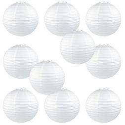 """WYZworks Round Paper Lanterns 10 Pack  - with 8"""", 10"""", 12"""","""
