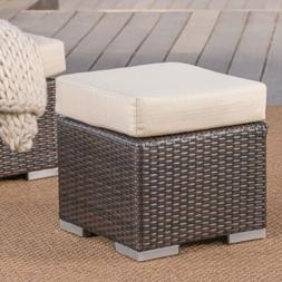Santa Rosa Outdoor 16 Inch Wicker Ottoman Seat with Water Re