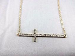 Sideways Cross Necklace Horizontal Gold Base Metal Crystals