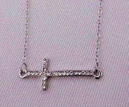 Sideways cross necklace horizontal silver crystal 16 inch ch
