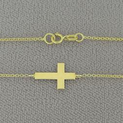 Solid 10k or 14k Gold Tiny Sideway Cross Charm Necklace GC10