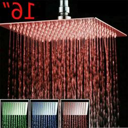 Shower Head 16-Inch LED Chrome Square Rain Sprayer Ultrathin