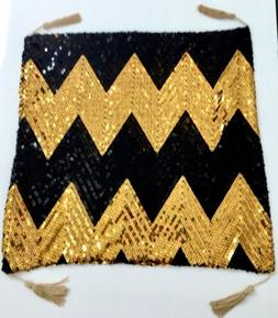 STUNNING BLACK~GOLD CHEVRON SEQUIN TASSEL/THROW PILLOW CASE~