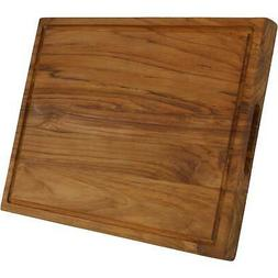 Sunnydaze Teak Wooden Cutting Board -Cured with Beeswax Fini