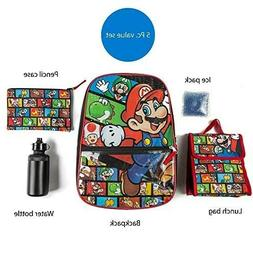 Super Mario Backpack with Lunch Box Set for Boys & Girls, 16