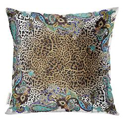 Emvency Throw Pillow Cover Blue Border Animal Paisley Color