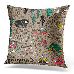 Emvency Throw Pillow Cover Camp Funny Map with Nature Landsc