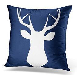 VANMI Throw Pillow Cover Nursery Woodland Deer Head in Navy