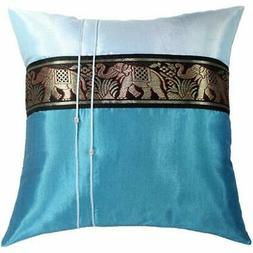 Throw Pillow Covers SALE Blue Decorative Silk 16x16 Inch Lar