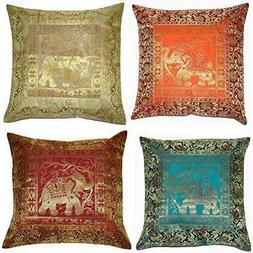 Throw Pillow Covers Set Of 4 16x16 Inch  Elephant Banarsi Si