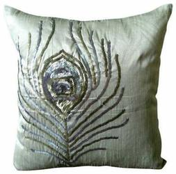 Throw Pillowcase Decorative Grey 16x16 inch Silk, Feather -