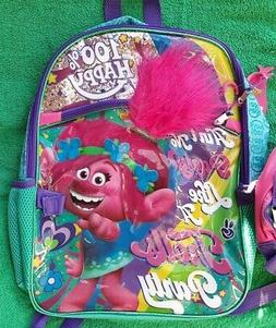 TROLLS Backpack and Lunch Box NeW Sparkly Book Bag Attachabl