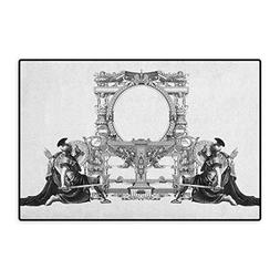 Victorian,Door Mat for Tub,Victorian Frame with a Gladiator